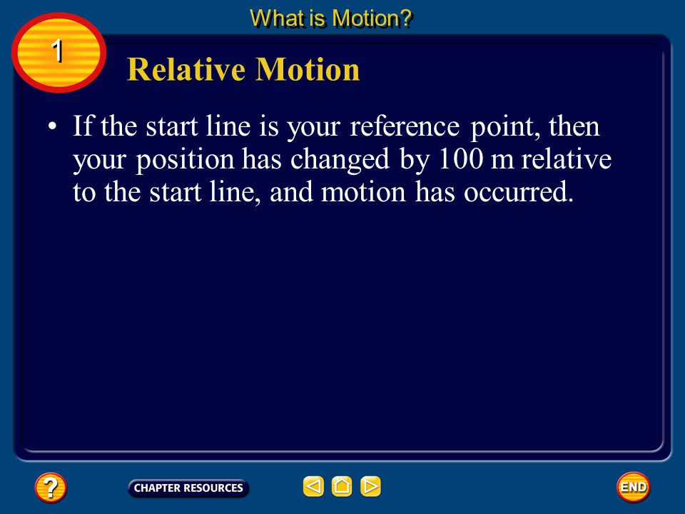An object changes position if it moves relative to a reference point. Relative Motion What is Motion? Picture yourself competing in a 100-m dash. You
