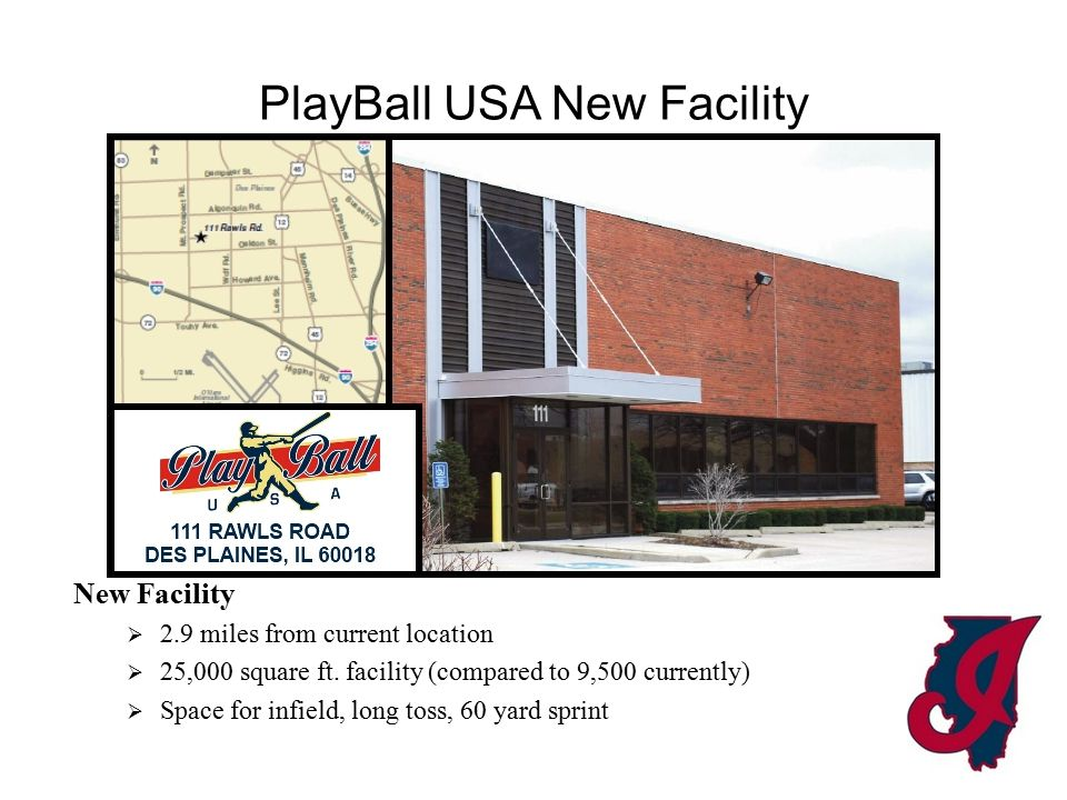 PlayBall USA New Facility New Facility  6 Cages (2 machine, 2 full, 2 half)  100' x 100' turfed infield (one beam)  200' long toss  200' track (60 yd.