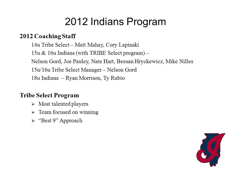 2012 Indians Program 2012 Coaching Staff 14u Tribe Select – Matt Mahay, Cory Lapinski 15u & 16u Indians (with TRIBE Select program) – Nelson Gord, Joe Pauley, Nate Hart, Beesan Hryckewicz, Mike Nilles 15u/16u Tribe Select Manager – Nelson Gord 18u Indians – Ryan Morrison, Ty Rubio Tribe Select Program  Most talented players  Team focused on winning  Best 9 Approach