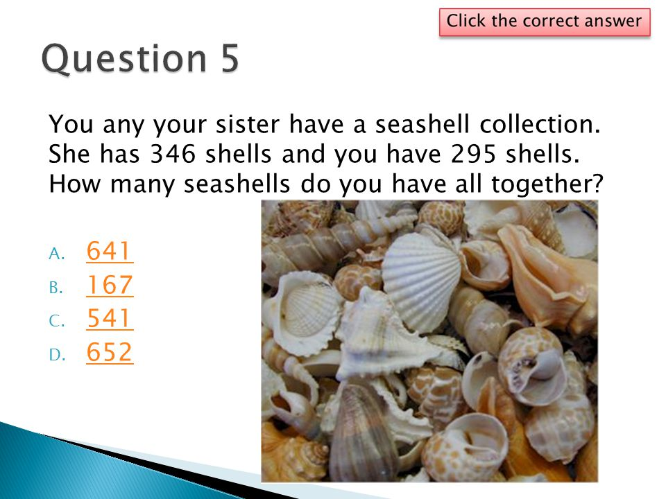 You any your sister have a seashell collection. She has 346 shells and you have 295 shells. How many seashells do you have all together? A. 641 641 B.