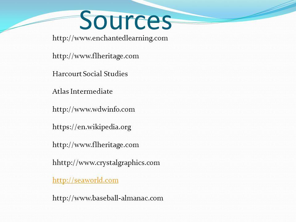 Sources http://www.enchantedlearning.com http://www.flheritage.com Harcourt Social Studies Atlas Intermediate http://www.wdwinfo.com https://en.wikipe