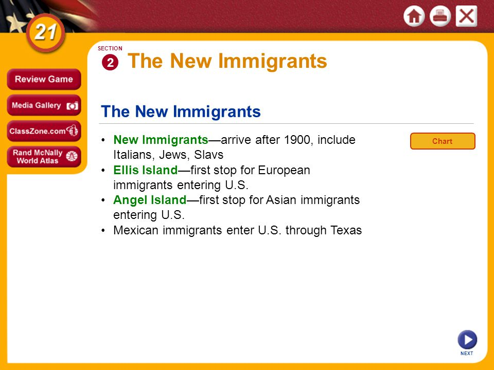 The New Immigrants NEXT 2 SECTION New Immigrants—arrive after 1900, include Italians, Jews, Slavs Mexican immigrants enter U.S.