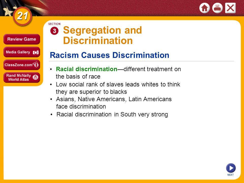 Racism Causes Discrimination NEXT 3 SECTION Racial discrimination—different treatment on the basis of race Low social rank of slaves leads whites to think they are superior to blacks Segregation and Discrimination Asians, Native Americans, Latin Americans face discrimination Racial discrimination in South very strong