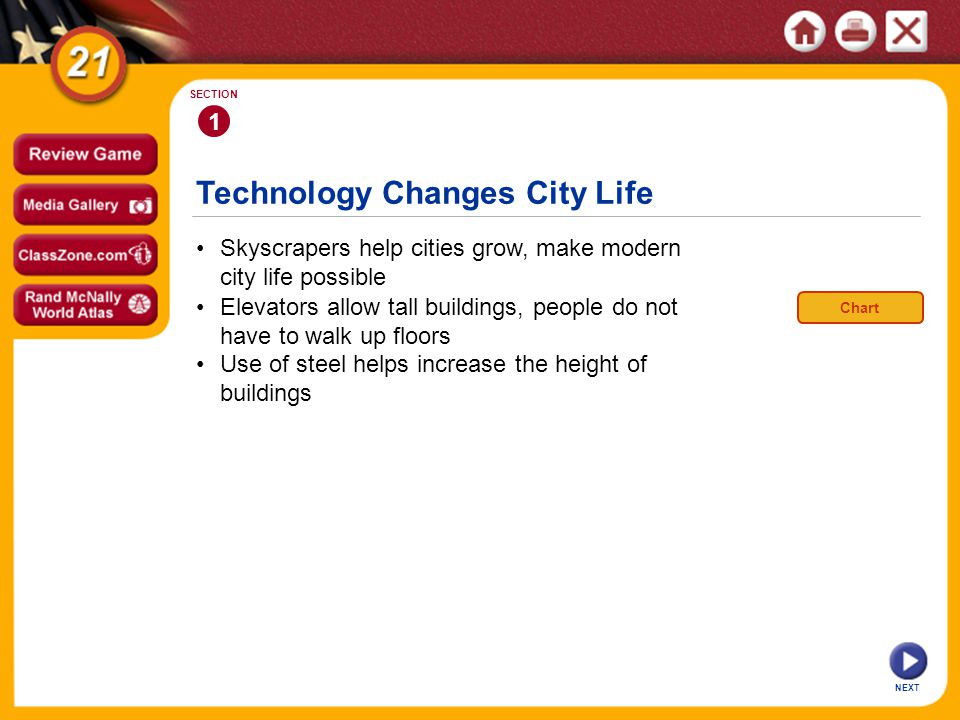 Technology Changes City Life NEXT 1 SECTION Skyscrapers help cities grow, make modern city life possible Use of steel helps increase the height of buildings Elevators allow tall buildings, people do not have to walk up floors Chart