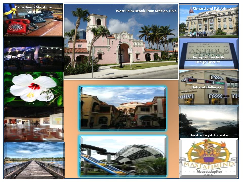 Palm Beach Maritime Museum Museum Suzanne Connors Fine Art Gallery Dyer Park Habatat Galleries Antique Row Art& Design District Design District Centennial Square The Armory Art Center Richard and Pat Johnson Museum Apoxee Wilderness Trail Rapids Water Park City Place West Palm Beach Train Station 1925 Abacoa Jupiter