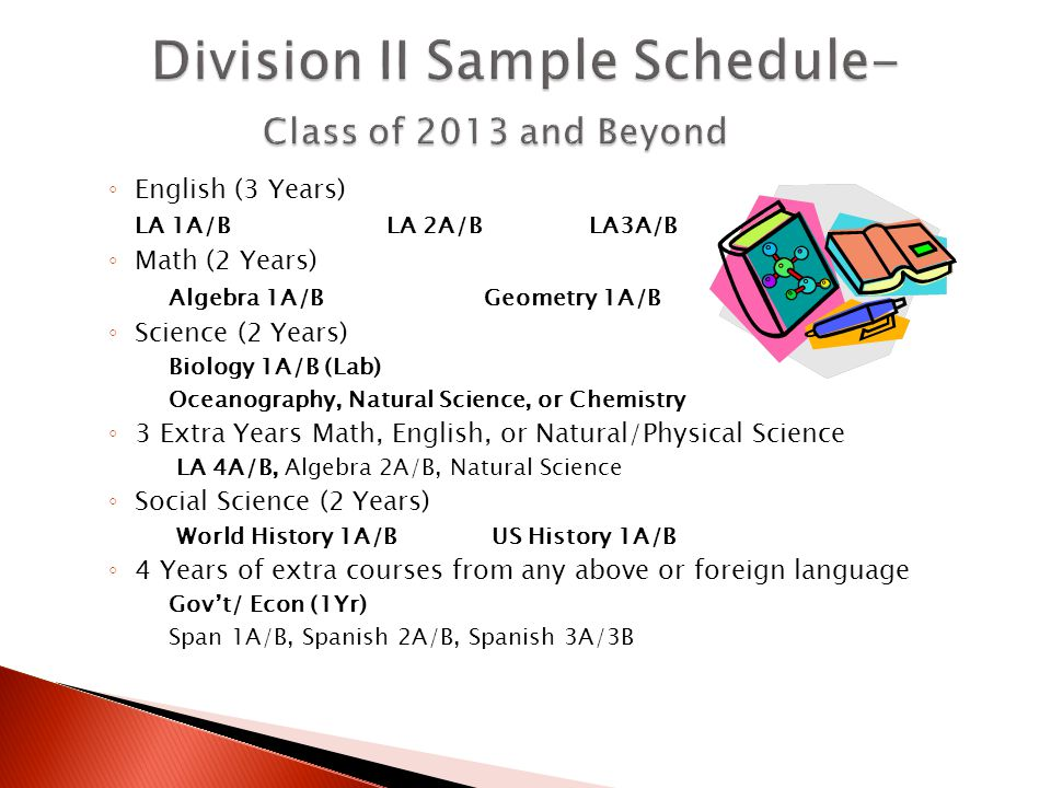 ◦ English (3 Years) LA 1A/B LA 2A/BLA3A/B ◦ Math (2 Years) Algebra 1A/B Geometry 1A/B ◦ Science (2 Years) Biology 1A/B (Lab) Oceanography, Natural Science, or Chemistry ◦ 3 Extra Years Math, English, or Natural/Physical Science LA 4A/B, Algebra 2A/B, Natural Science ◦ Social Science (2 Years) World History 1A/B US History 1A/B ◦ 4 Years of extra courses from any above or foreign language Gov't/ Econ (1Yr) Span 1A/B, Spanish 2A/B, Spanish 3A/3B