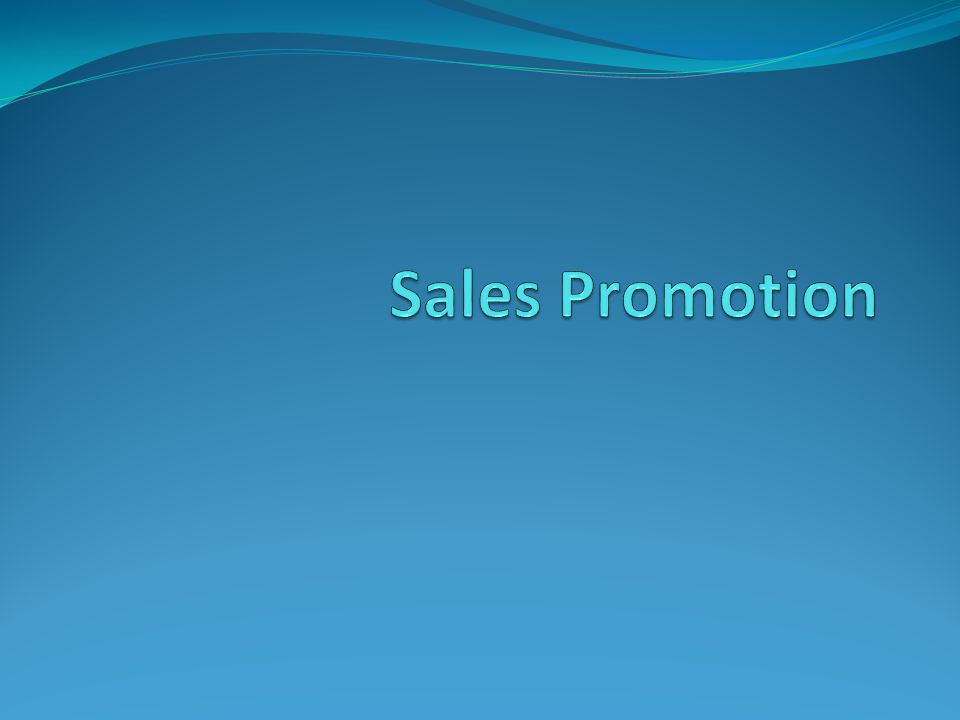 Sales Promotion Sales promotion consists of non-personal activities used to increase sales over time.