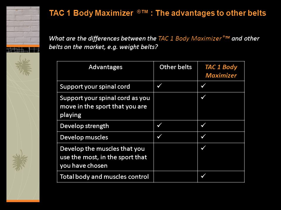 TAC 1 Body Maximizer ® ™ : The advantages to other belts What are the differences between the TAC 1 Body Maximizer ® ™ and other belts on the market,
