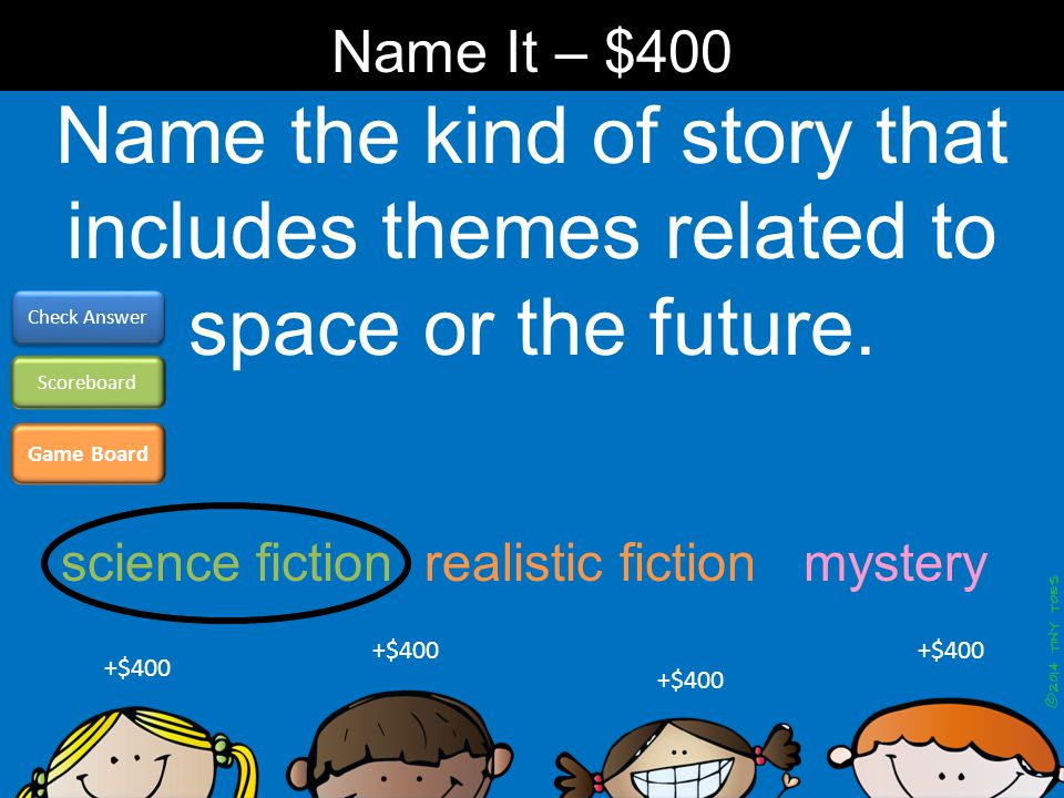 Name the kind of story that includes themes related to space or the future. Name It – $400 Game Board Check Answer Scoreboard +$400 science fiction re