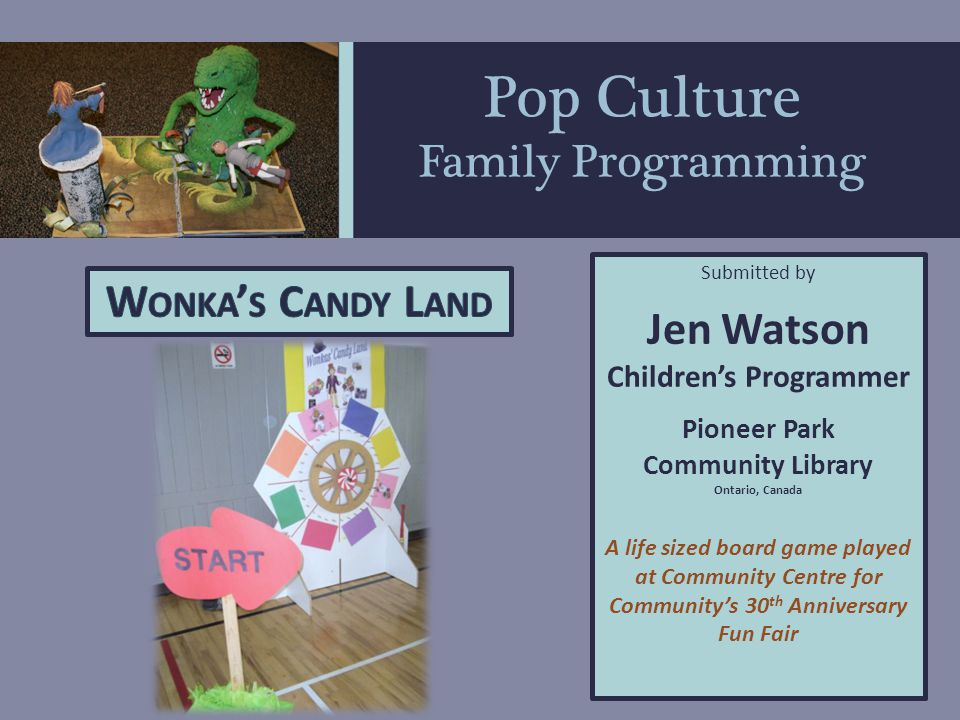 Pop Culture Family Programming Program Objectives Popular Culture - Current Event Programming Promote the library as a relevant, fun and vibrant place Build on existing enthusiasm for timely events Re-energize programs with decreasing attendance
