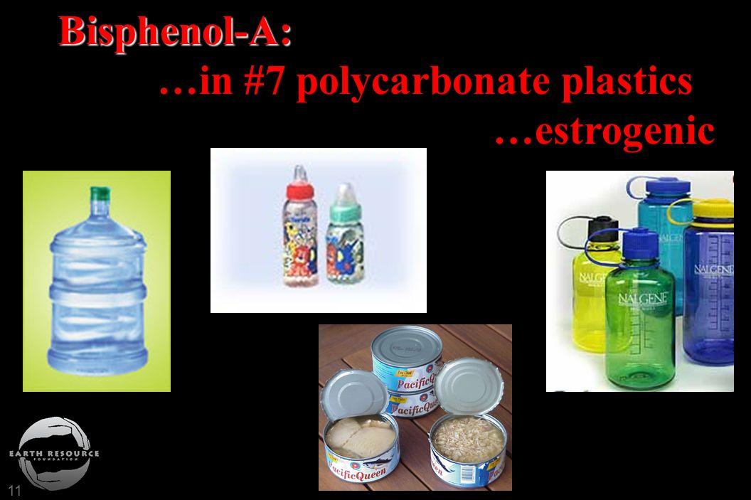 11 Bisphenol-A: Bisphenol-A: …in #7 polycarbonate plastics …estrogenic