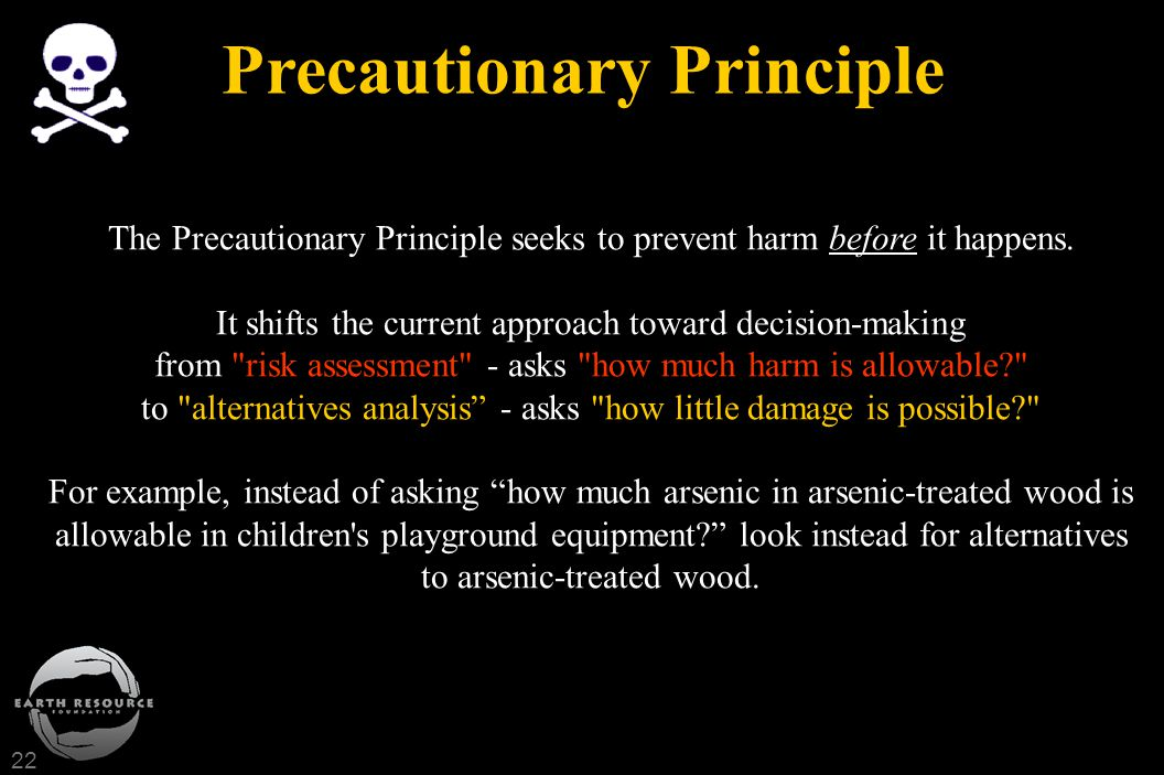 22 Precautionary Principle The Precautionary Principle seeks to prevent harm before it happens. It shifts the current approach toward decision-making