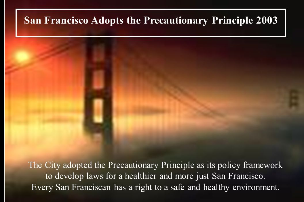San Francisco Adopts the Precautionary Principle 2003 The City adopted the Precautionary Principle as its policy framework to develop laws for a healthier and more just San Francisco.