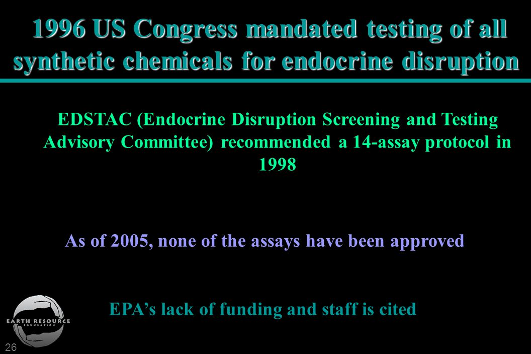 26 1996 US Congress mandated testing of all synthetic chemicals for endocrine disruption 1996 US Congress mandated testing of all synthetic chemicals