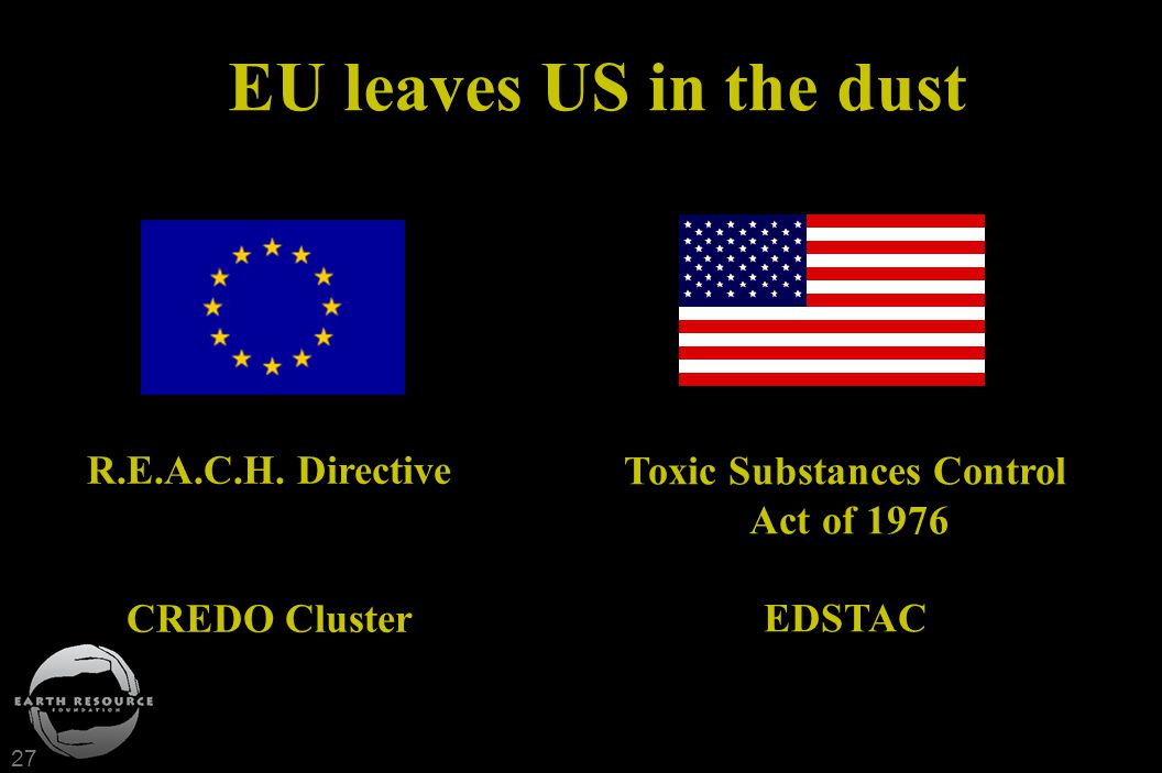 27 EU leaves US in the dust R.E.A.C.H. Directive CREDO Cluster Toxic Substances Control Act of 1976 EDSTAC