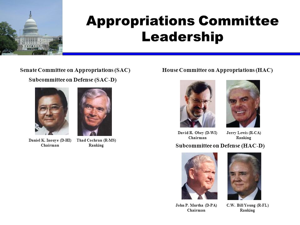 Appropriations Committee Leadership Senate Committee on Appropriations (SAC)House Committee on Appropriations (HAC) Subcommittee on Defense (SAC-D) Su