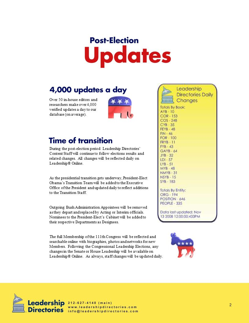 During the post-election period Leadership Directories' Content Staff will continue to follow elections results and related changes.