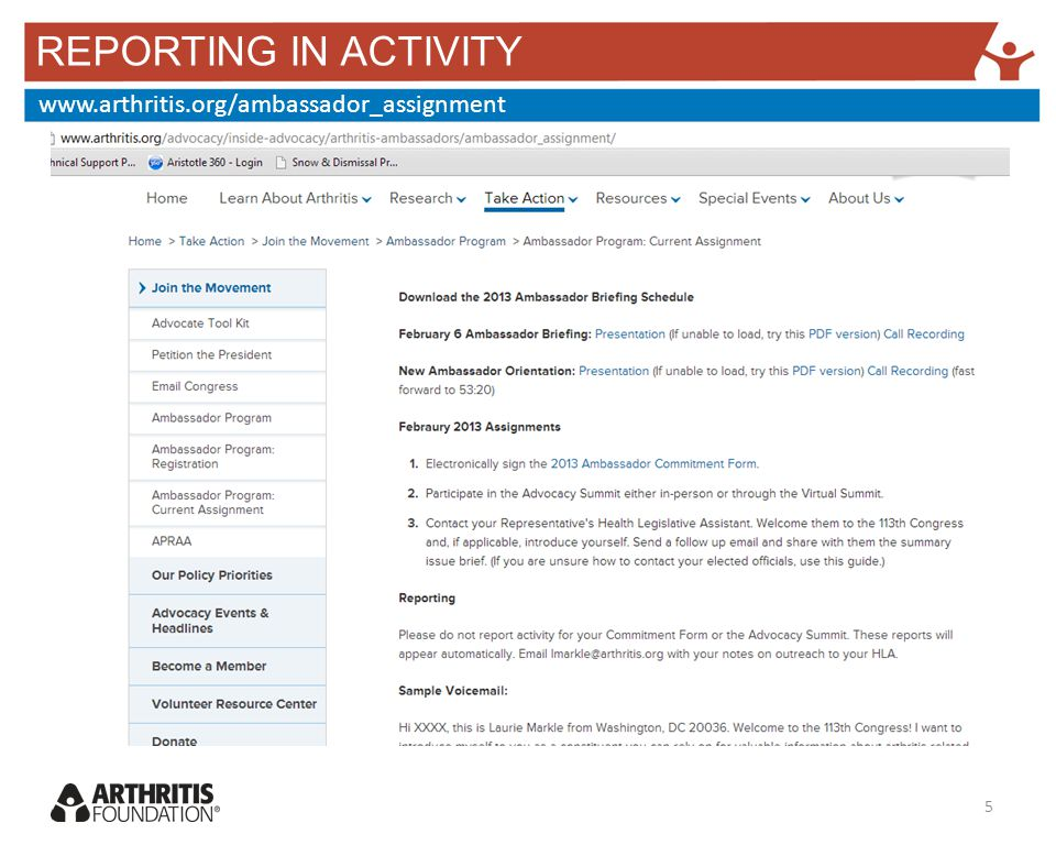 REPORTING IN ACTIVITY www.arthritis.org/ambassador_assignment 5