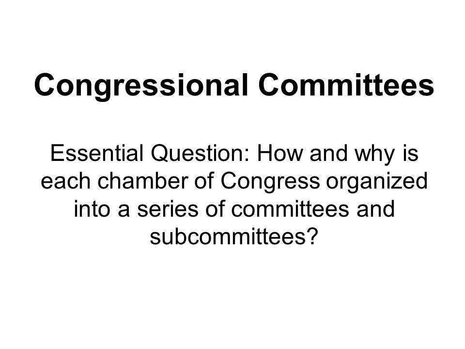 Congressional Committees Standing Committees – Permanent committees (exist from one congressional term to the next) that oversee bills that deal with specific kinds of issues.