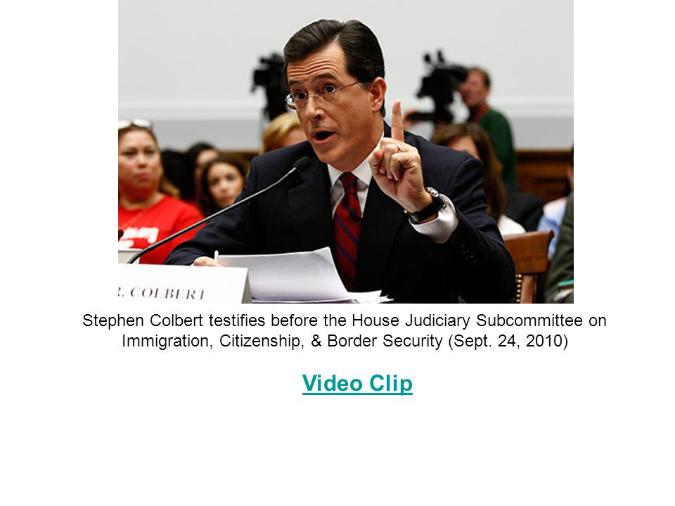 Stephen Colbert testifies before the House Judiciary Subcommittee on Immigration, Citizenship, & Border Security (Sept.