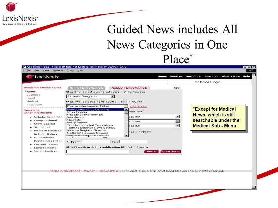 Guided News includes All News Categories in One Place * * Except for Medical News, which is still searchable under the Medical Sub - Menu
