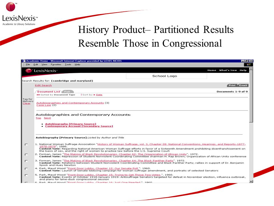 History Product– Partitioned Results Resemble Those in Congressional