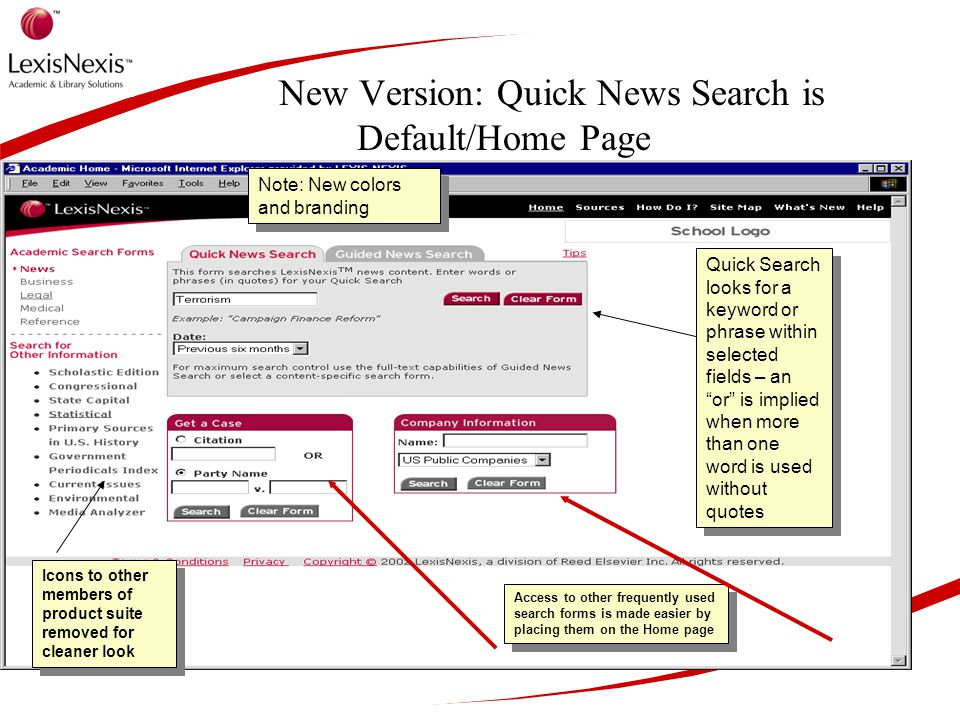 New Version: Quick News Search is Default/Home Page N Note: New colors and branding Quick Search looks for a keyword or phrase within selected fields – an or is implied when more than one word is used without quotes Icons to other members of product suite removed for cleaner look Access to other frequently used search forms is made easier by placing them on the Home page