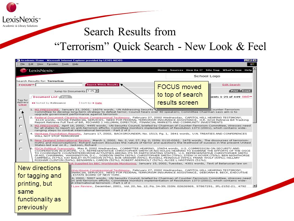 Search Results from Terrorism Quick Search - New Look & Feel FOCUS moved to top of search results screen New directions for tagging and printing, but same functionality as previously