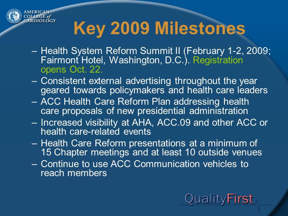 Key 2009 Milestones –Health System Reform Summit II (February 1-2, 2009; Fairmont Hotel, Washington, D.C.).