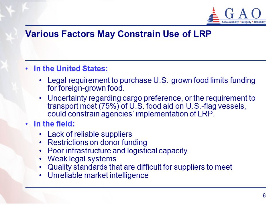 77 Recommendations on LRP to USAID and USDA Systematically collect evidence on LRP's adherence to quality standards and product specifications to ensure food safety and nutritional content.
