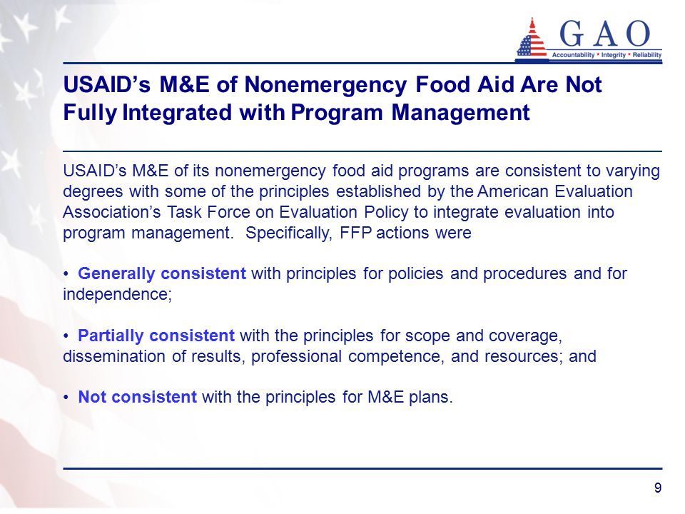 10 Recommendations on M&E to USAID Develop a concept of operations document to help reduce the risks associated with upgrading the Food for Peace information system.