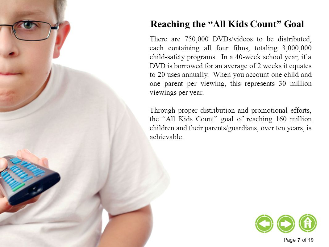 Reaching the All Kids Count Goal There are 750,000 DVDs/videos to be distributed, each containing all four films, totaling 3,000,000 child-safety programs.