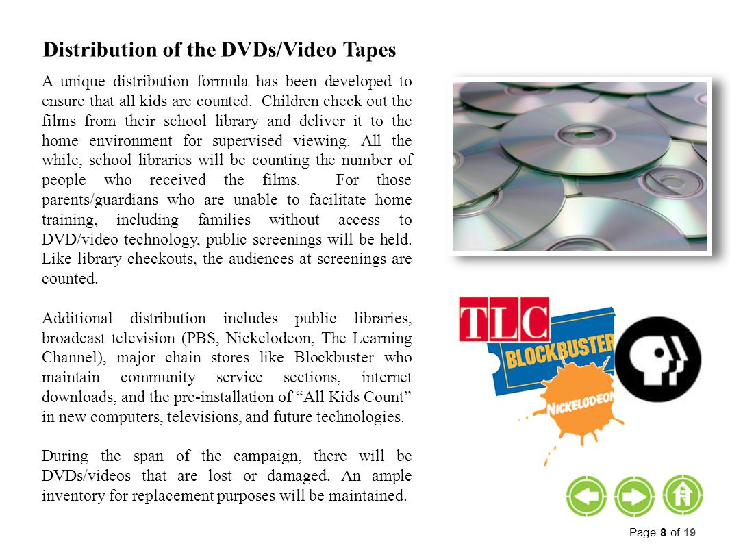 Distribution of the DVDs/Video Tapes A unique distribution formula has been developed to ensure that all kids are counted.