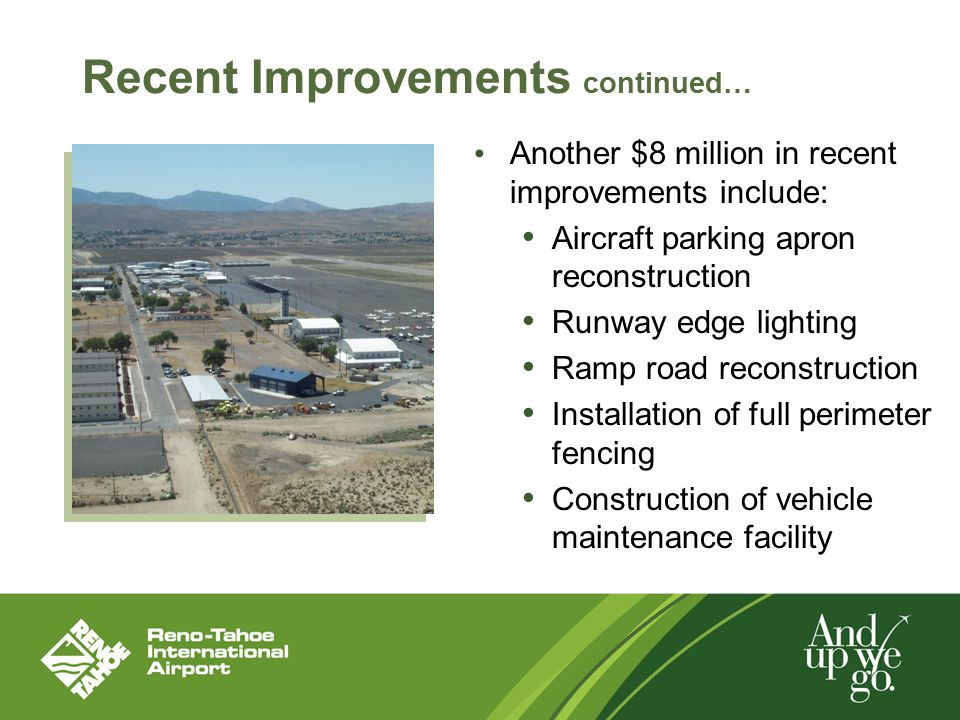 Recent Improvements continued… Another $8 million in recent improvements include: Aircraft parking apron reconstruction Runway edge lighting Ramp road