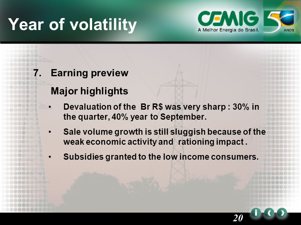 20 Year of volatility 7.Earning preview Major highlights Devaluation of the Br R$ was very sharp : 30% in the quarter, 40% year to September.