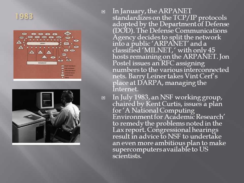 1983  In January, the ARPANET standardizes on the TCP/IP protocols adopted by the Department of Defense (DOD).