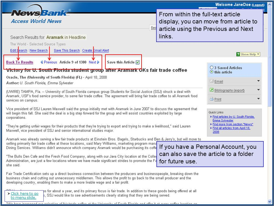 From within the full-text article display, you can move from article to article using the Previous and Next links.