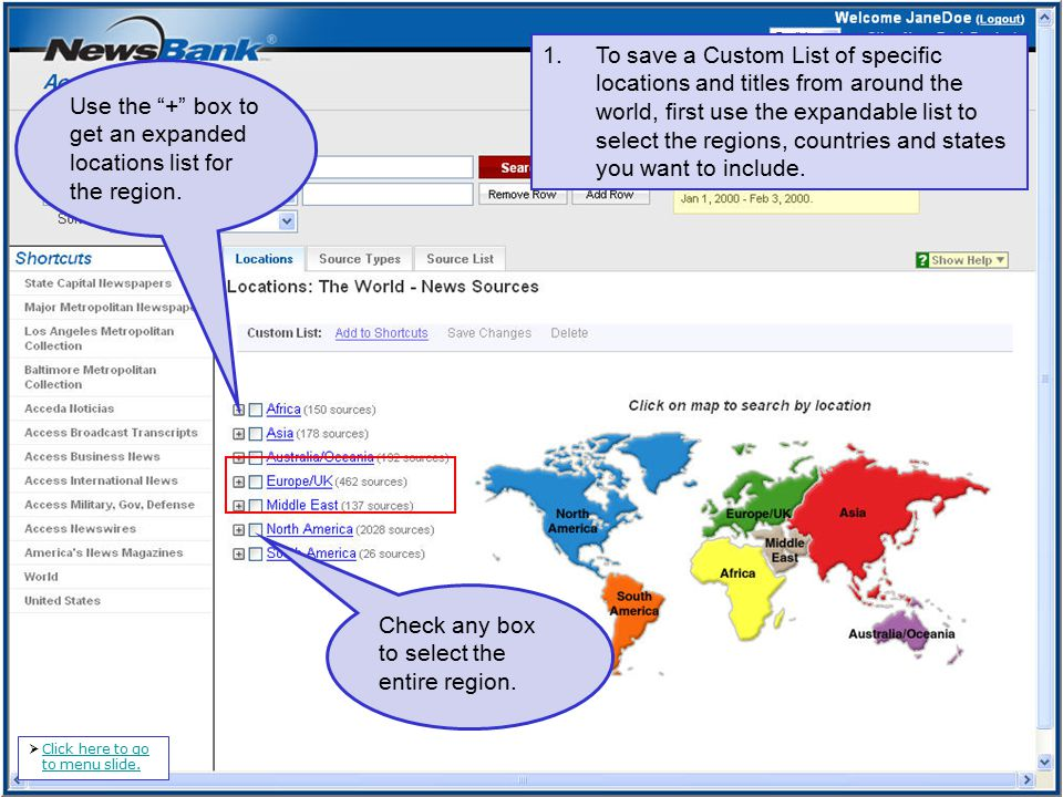 1.To save a Custom List of specific locations and titles from around the world, first use the expandable list to select the regions, countries and states you want to include.