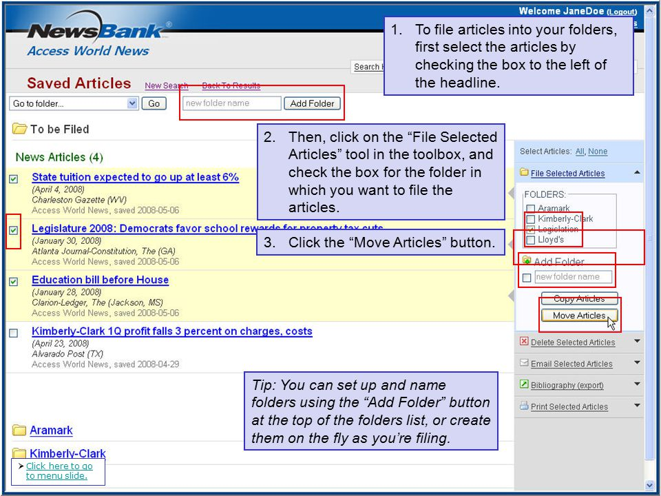 1.To file articles into your folders, first select the articles by checking the box to the left of the headline.