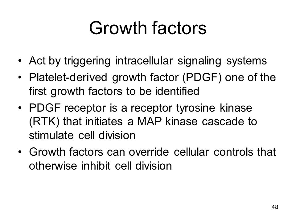 Growth factors Act by triggering intracellular signaling systems Platelet-derived growth factor (PDGF) one of the first growth factors to be identifie