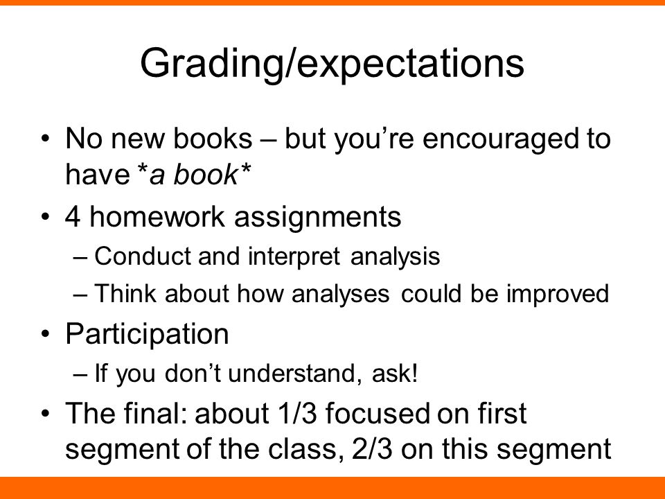 Grading/expectations No new books – but you're encouraged to have *a book* 4 homework assignments –Conduct and interpret analysis –Think about how analyses could be improved Participation –If you don't understand, ask.