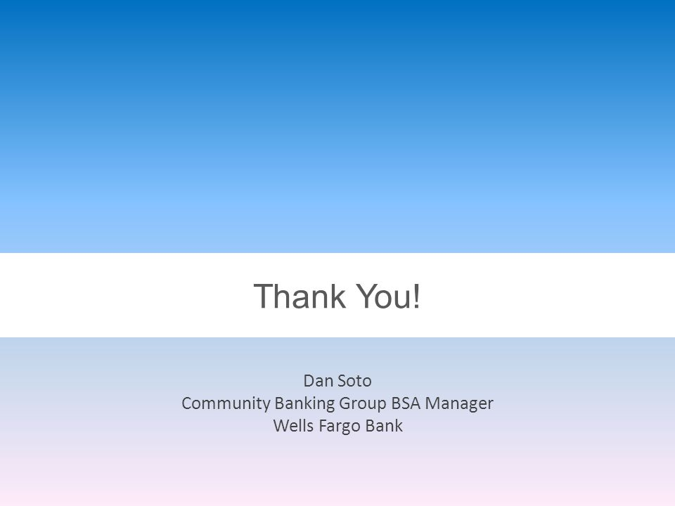 Thank You! Dan Soto Community Banking Group BSA Manager Wells Fargo Bank