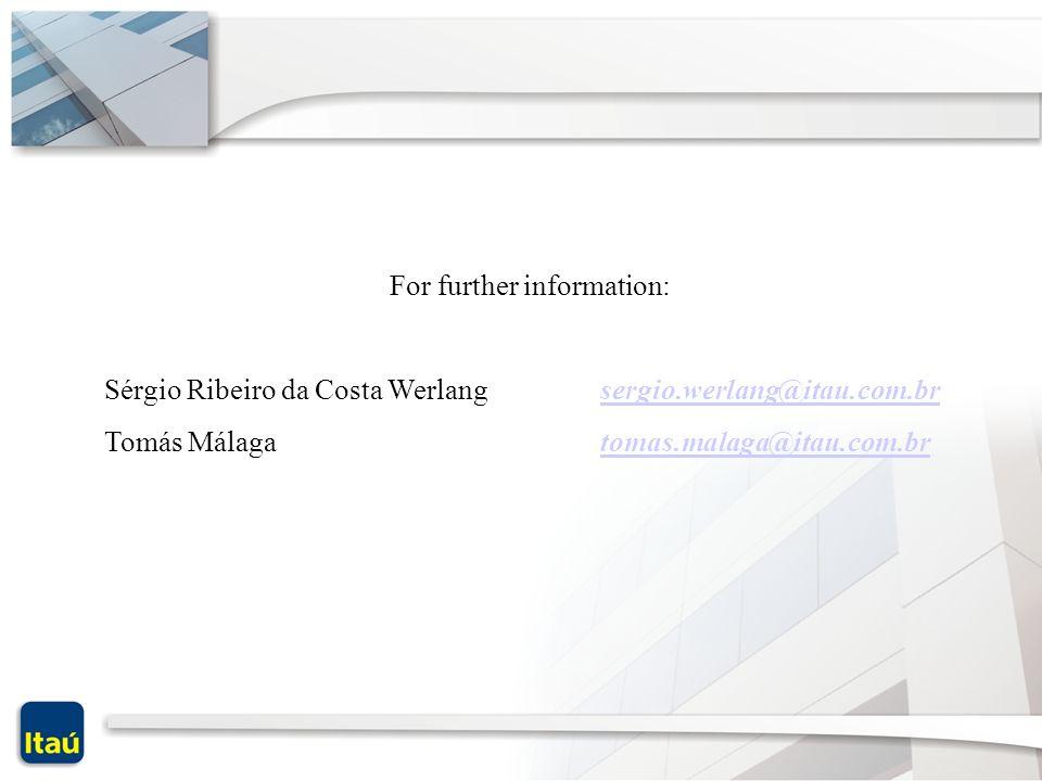 For further information: Sérgio Ribeiro da Costa Werlang sergio.werlang@itau.com.brsergio.werlang@itau.com.br Tomás Málaga tomas.malaga@itau.com.brtom