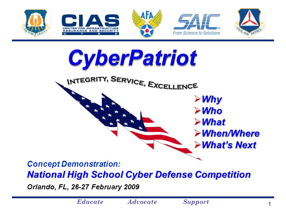 Educate Advocate Support Concept Demonstration: National High School Cyber Defense Competition Orlando, FL, 26-27 February 2009 Why  Why  Who  What  When/Where  What's Next 1