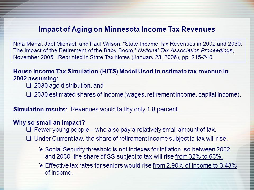 Impact of Aging on Minnesota Income Tax Revenues Nina Manzi, Joel Michael, and Paul Wilson, State Income Tax Revenues in 2002 and 2030: The Impact of the Retirement of the Baby Boom, National Tax Association Proceedings, November 2005.