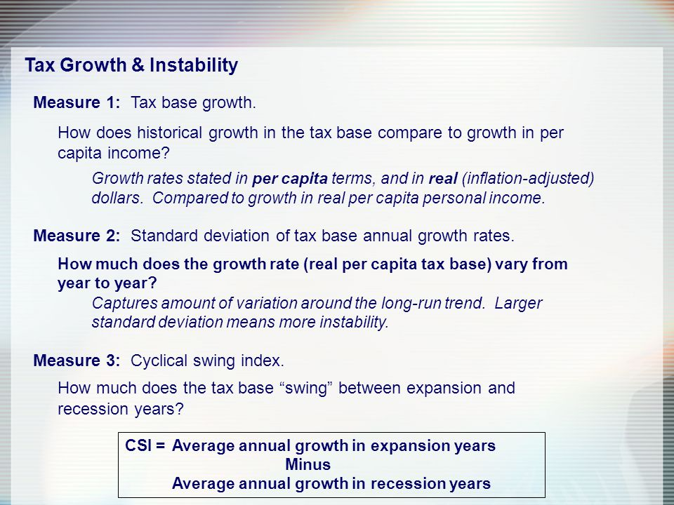 Tax Growth & Instability Measure 1: Tax base growth.