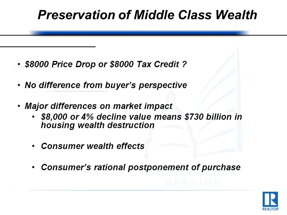 Preservation of Middle Class Wealth $8000 Price Drop or $8000 Tax Credit .