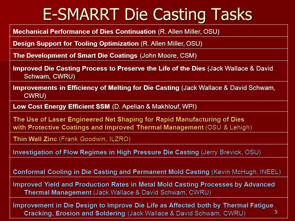 5 E-SMARRT Die Casting Tasks Mechanical Performance of Dies Continuation (R.