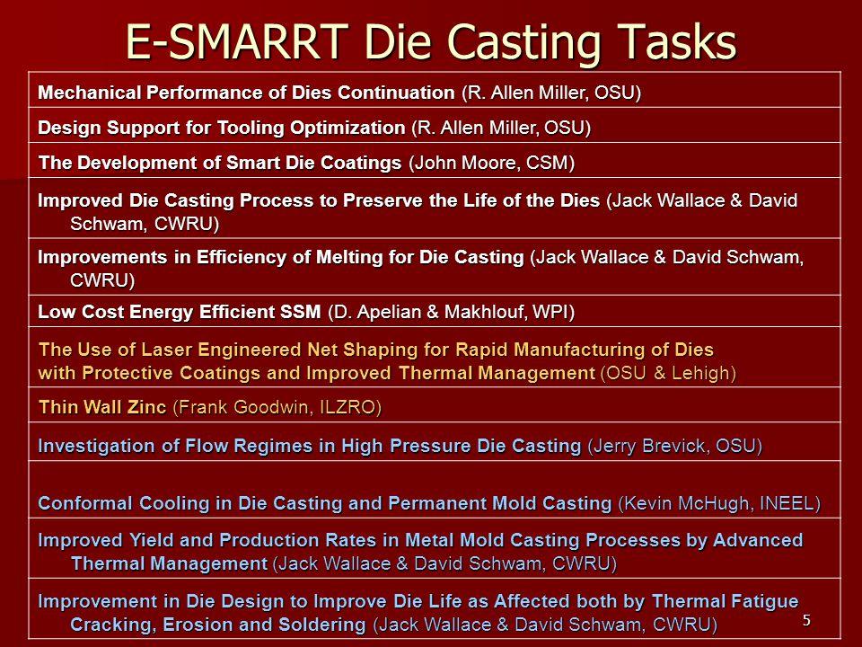 5 E-SMARRT Die Casting Tasks Mechanical Performance of Dies Continuation (R. Allen Miller, OSU) Design Support for Tooling Optimization (R. Allen Mill