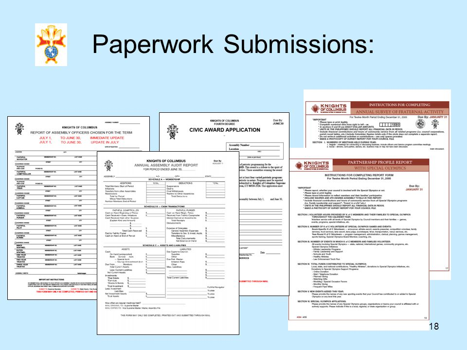 18 Paperwork Submissions: